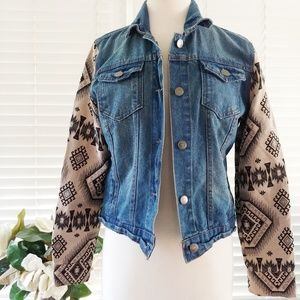 Paper tee retro southwestern Denim jacket